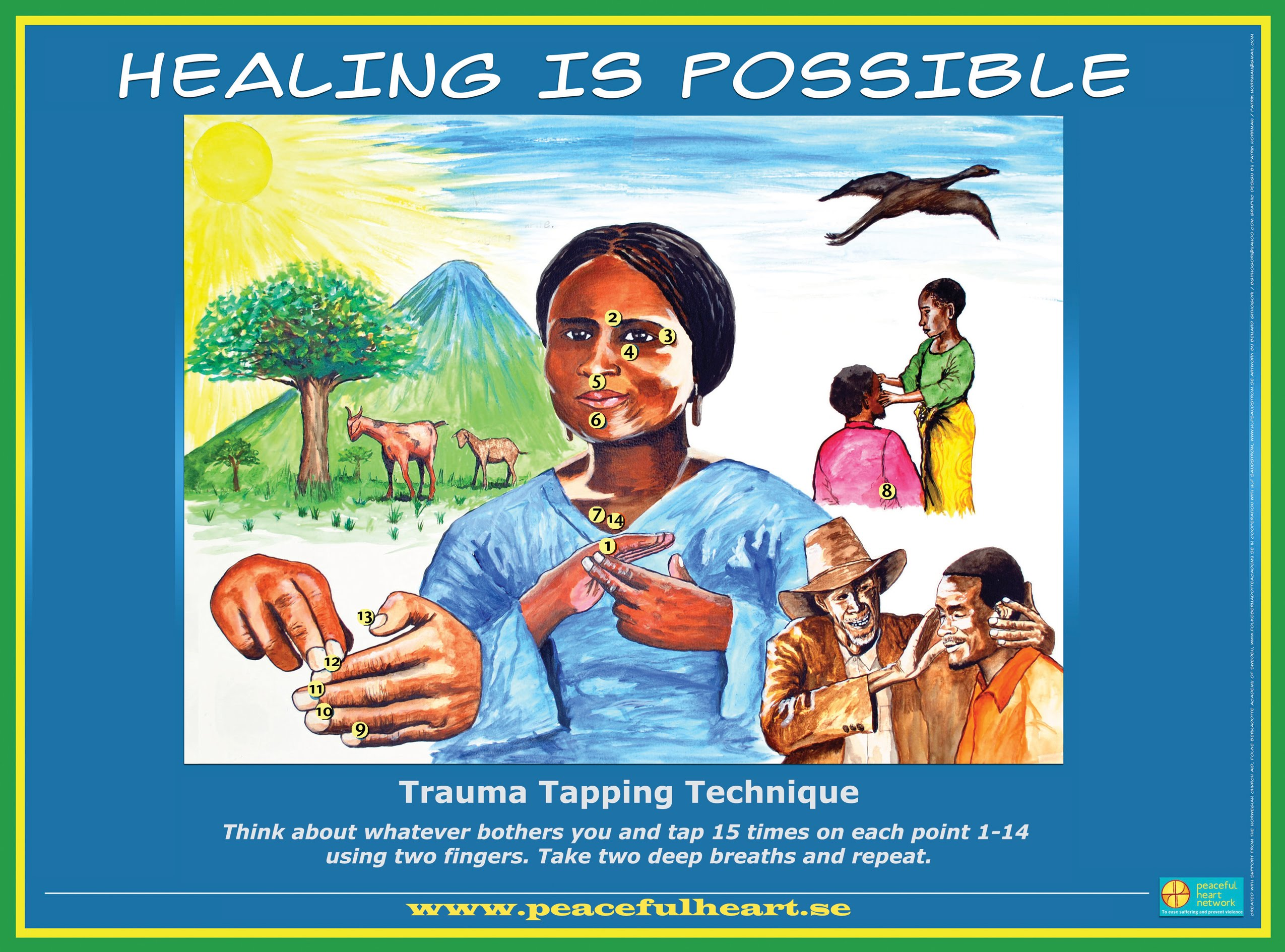 Trauma TappingTecnique instruction image - Peaceful Heart Network